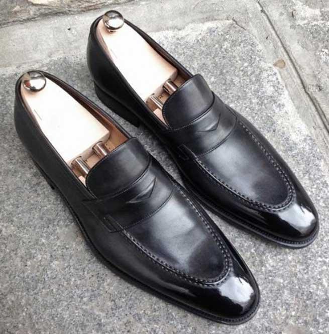 Handmade Men Black Leather Shoes, Dress