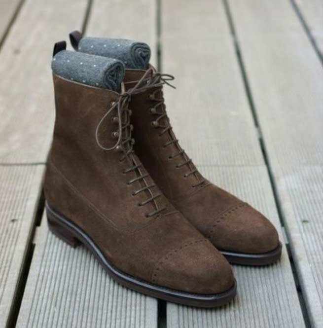Brown Suede Leather Boot Handmade Men