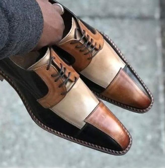 Handmade Men 3 Tone Shoes, Dress Formal