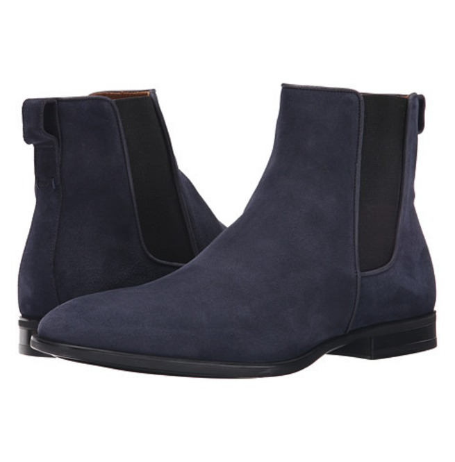 Handmade Navy Blue Chelsea Boots, Suede