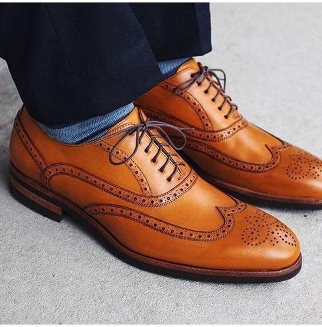 Handmade Men Tan Color Brogue Leather