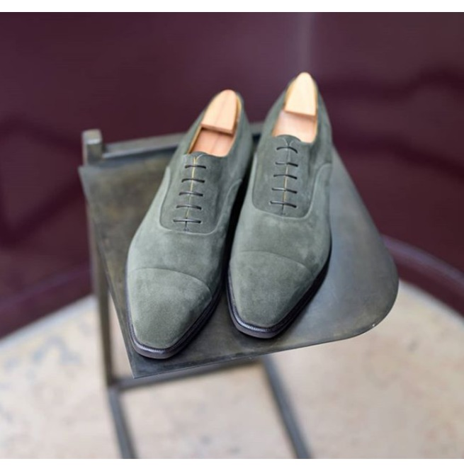 Handmade Lace Up Gray Shoes, Men Suede