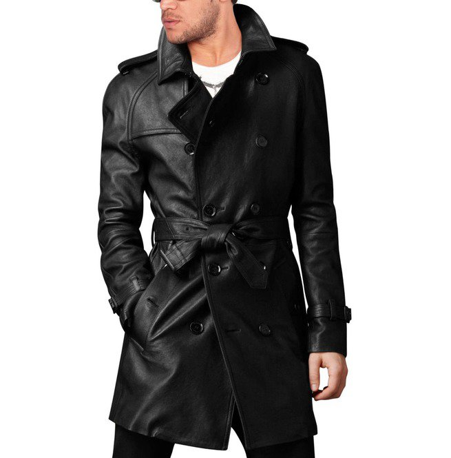 Handmade Men Leather Trench Coat Mens Belted Long Leather Coat Mens Jackets  – Footeria