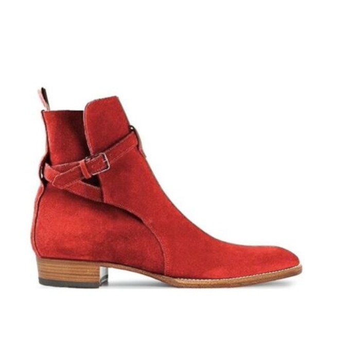 New Handmade Red Suede Leather Ankle