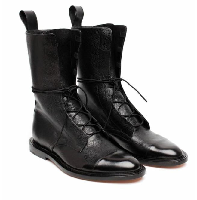 Handmade Mens Black leather High ankle boots Men black leather rider boots